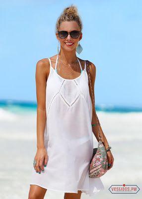 mejor selección e035c 698c2 Vestidos Blancos para Playa | Patrones de vestidos en 2019 ...