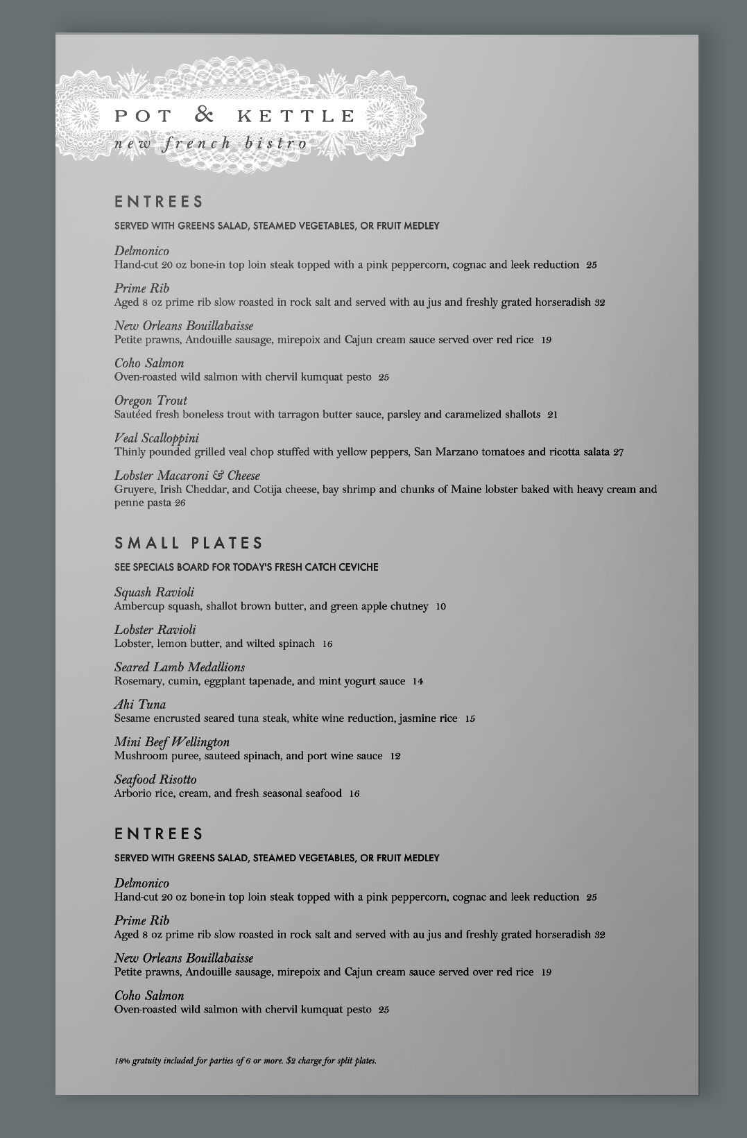 a french dinner menu template with a warm gray background and white