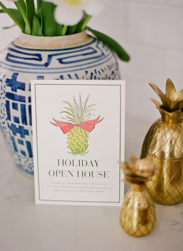 Adorable pineapple open house invitation from Dixie Design