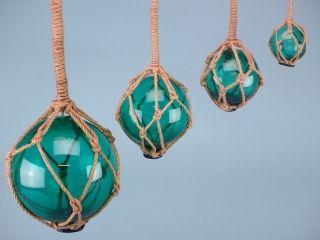 Glass floats - jade green - Set 4 (5-12.5cm)