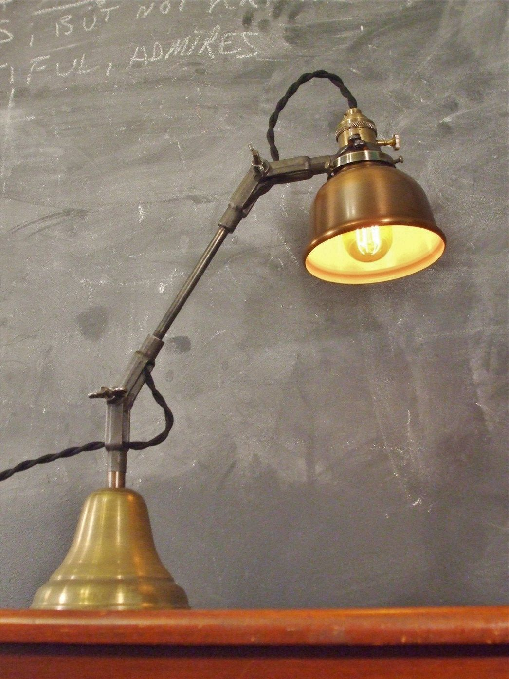 Antique desk lamps - Vintage Industrial Desk Lamp Machine Age Task Light Cast Iron Steampunk