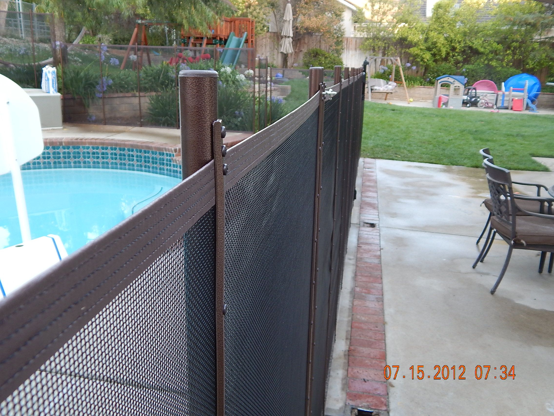 Life Saver Pool Fence Copper Vein Poles With Black Mesh King S