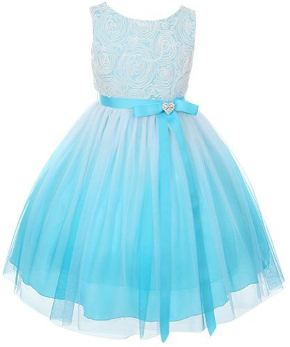 Turquoise colored flower girl dresses