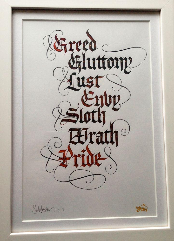 Seven Deadly Sins Font : seven, deadly, Lester, Seven, Deadly, Original, Lettering, Design,, Alphabet,