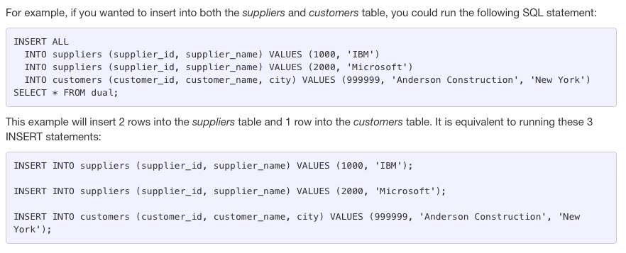 Oracle INSERT ALL statement - add rows into multiple tables