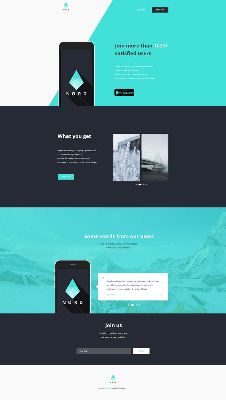 Nord Simple App Landing One Page Template Preview Web Uiux