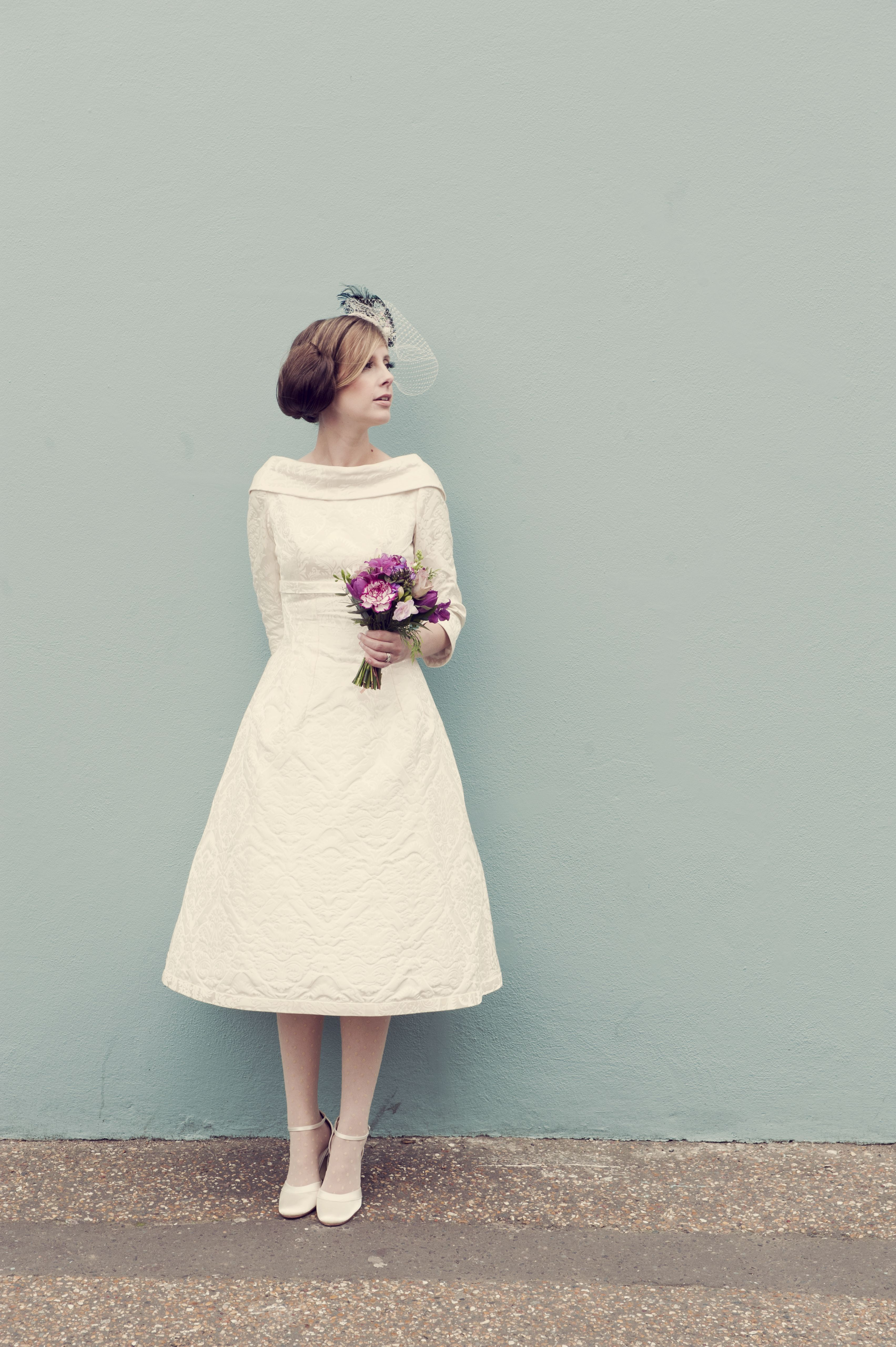 Sussex Based Vintage Style Photographer Quirky Fun Wedding Bride Posie Country Flowers Bouq 1960s Wedding Dresses Short Bride Dresses Amazing Wedding Dress [ 5120 x 3407 Pixel ]