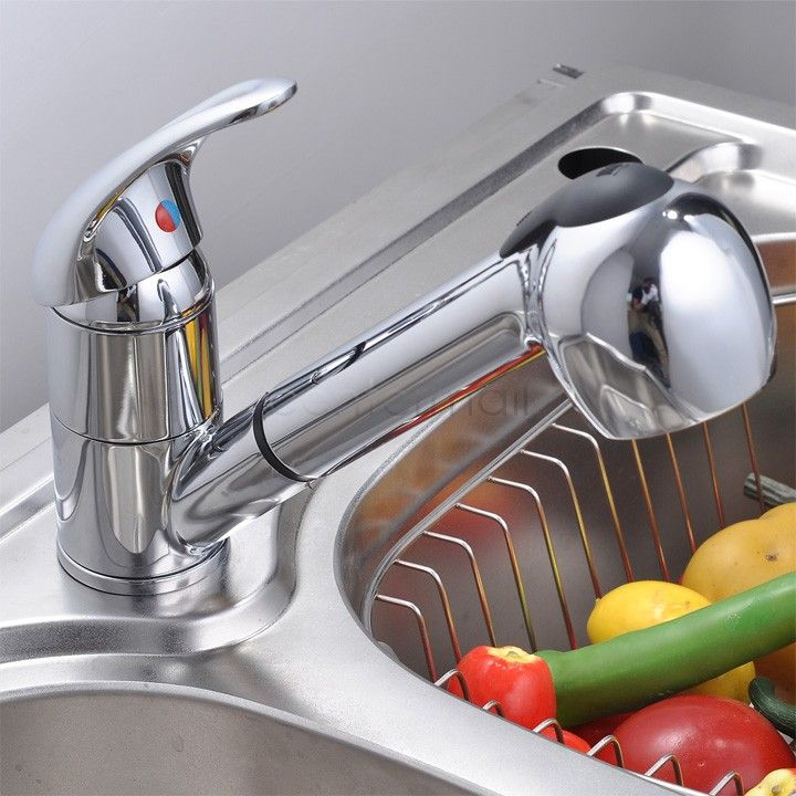 High Quality Silver Pull Out Spray Single Lever Swivel Spout Kitchen ...