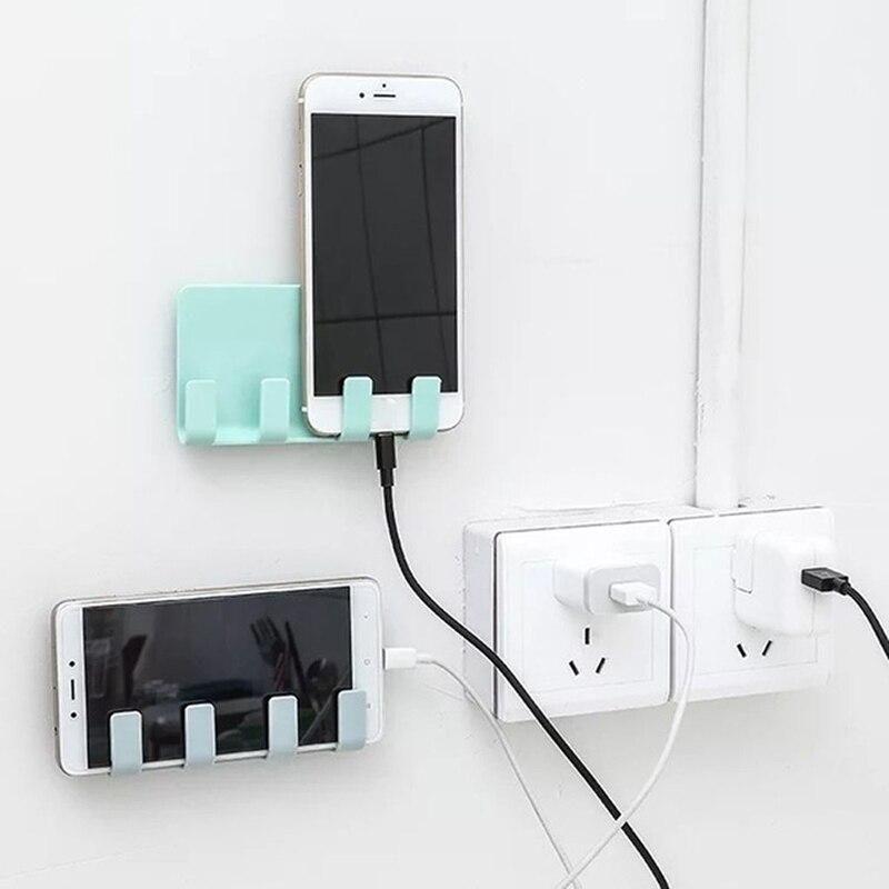 Adhesive Wall Mount Phone Holder Home Plug Socket Charging Box Bracket Stand Holder Bathroom Shaver Razor Rack Organizer In 2020 Wall Phone Holder Phone Charging Holder Wall Phone