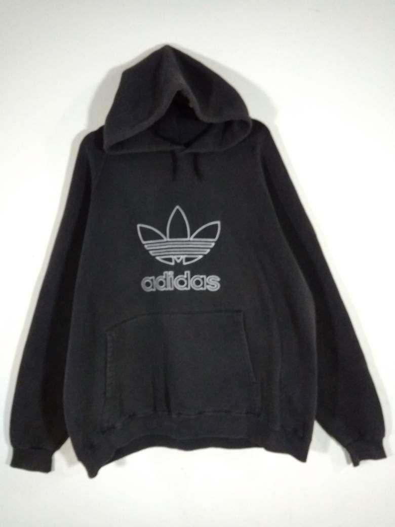 Adidas Trefoil Hoodie Embroidery Big Logo Black Hooded Vintage Etsy Adidas Trefoil Hoodie Vintage Sweatshirt Hoodies [ 1040 x 780 Pixel ]