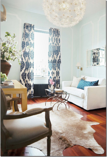 Curtains From Duralee S Kalah In Blue Against A Light Blue Wall