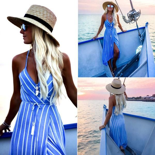 d98688f618 Nautical Boho Maxi Striped beach dress