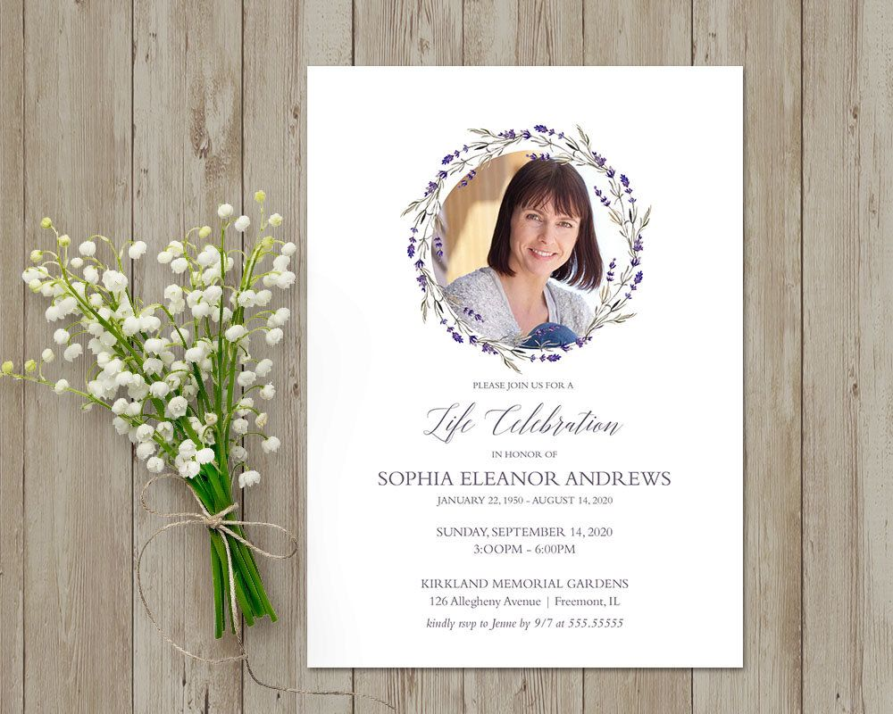 Celebration Of Life Invitations Memorial Cards Funeral Card In Loving Memory Memorial Cardcelebration Of Celebration Of Life Funeral Card Invitations Template