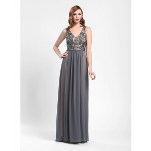 Sue Wong Charcoal Floral Sequined Evening Gown   Dresses ...