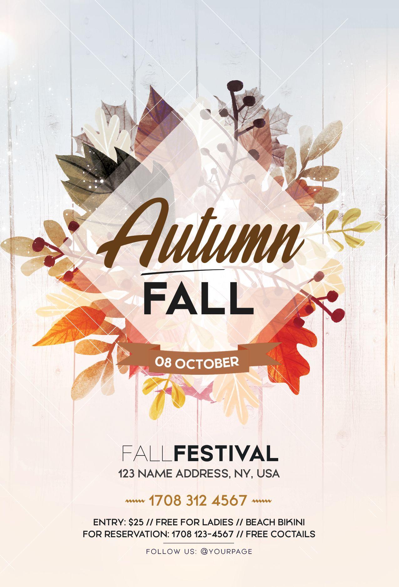 fall festival autumn free psd flyer template flyer autumn freeflyer freepsd