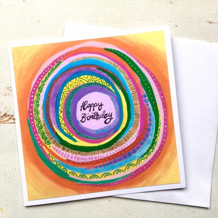 Happy Birthday Mandala Art Card Rainbow Fun Greetings Card Yoga