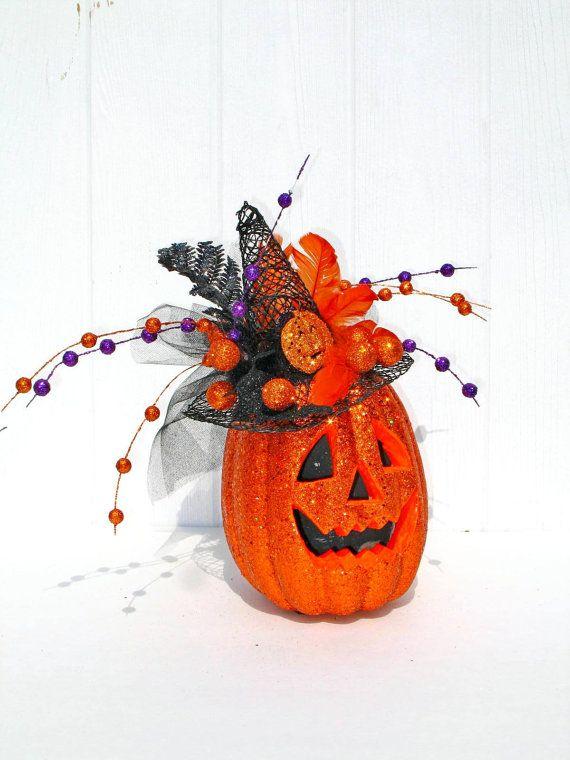 Halloween Decoration / Jack o Lantern Centerpiece / Pumpkin