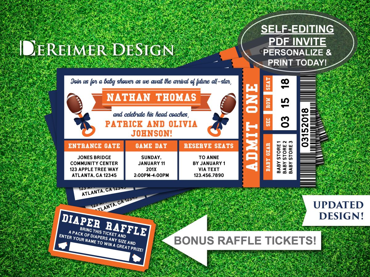 Sports Ticket Baby Shower Invitation, Little All-Star, Football ...