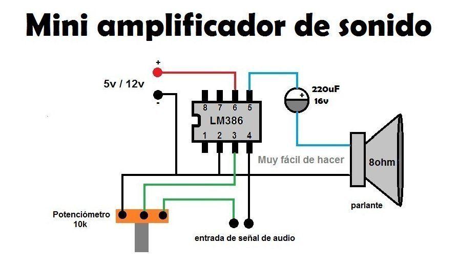 Circuito Diagrama De Un Mini Amplificador De Sonido Casero Yo Los Probe Con Unas Bocinas De E Amplificador De Audio Amplificador De Sonido Casero Amplificador