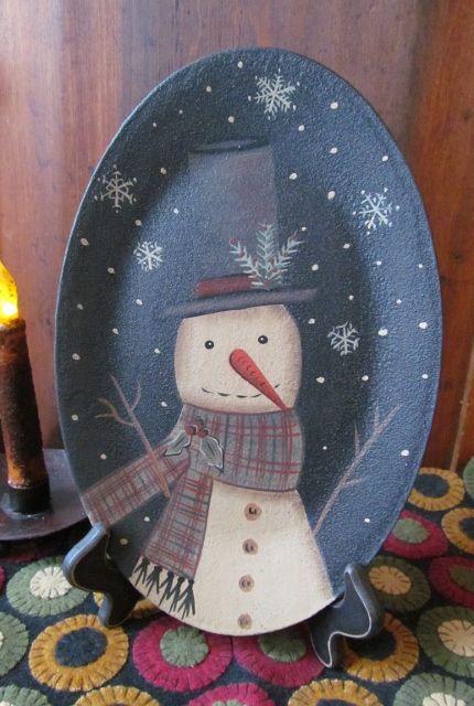 Primitive oval snowman wooden decorative plate - The Unique Black Sheep & Primitive oval snowman wooden decorative plate - The Unique Black ...