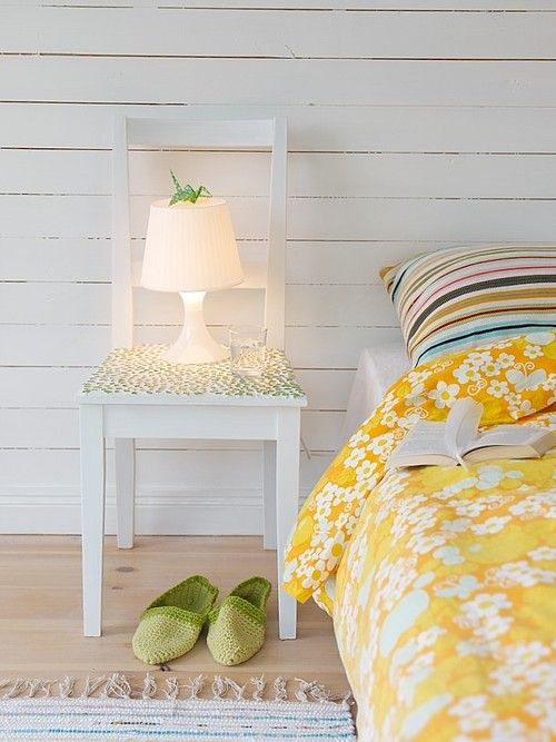 Ikea Lamp Chair For A Nightside Table Yellow Comforter Striped Pillow Wood Floors Bedside Rug And Slippers 3