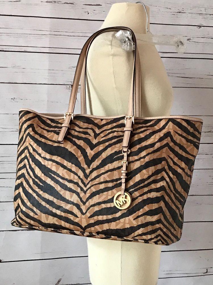 d2e8c8d581c43d MICHAEL KORS Jet Set MK Logo Zebra Tiger Print Travel Tote Bag Large Brown # MichaelKors