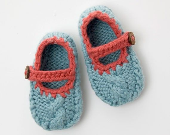Knitted Baby Shoe Pattern Mary Jane Cable Shoe Cable Knitted Baby