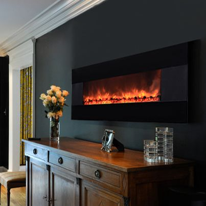Imagine bringing a room to life, stepping up the ambiance and comfort wherever you can hang a picture! This room has selected the #AmbionAir Flame #Fireplace EF-1100HBM model.