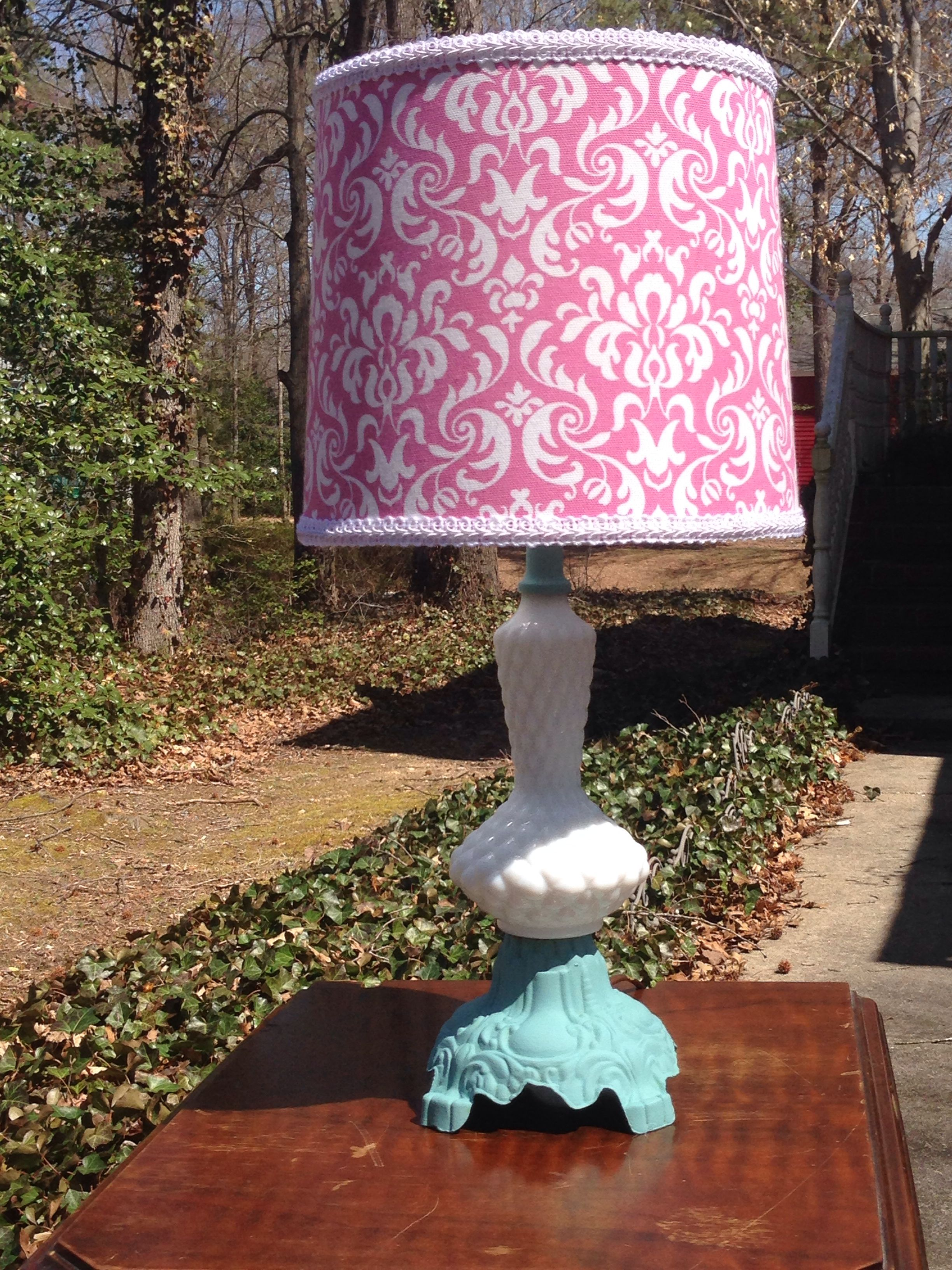 Milk Glass Lamp Base Painted Annie Sloan S Chalk Paint In Provence Completed With A Custom Made Lampshade Milk Glass Lamp Milk Glass I Love Lamp
