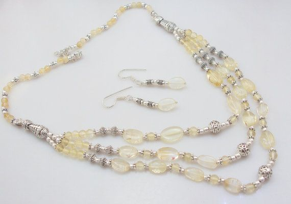 F-3 stunning hot sell citrine .925 silver choker handmade beaded chunky necklace jewellery