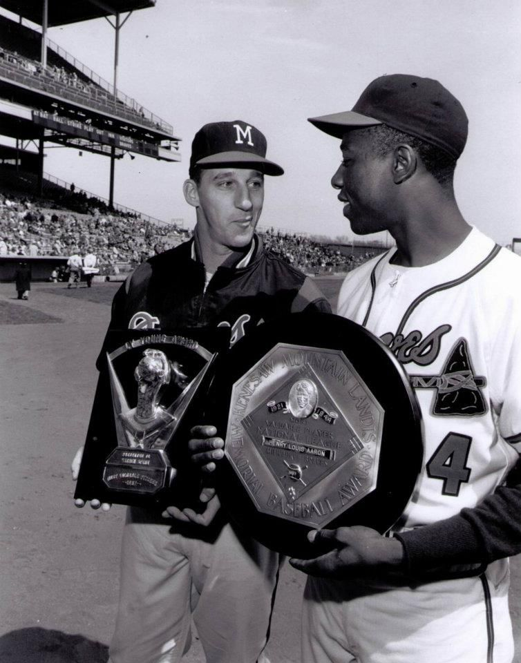Warren Spahn won the 1957 Cy Young Award and Hank Aaron was the National League's Most Valuable Player.