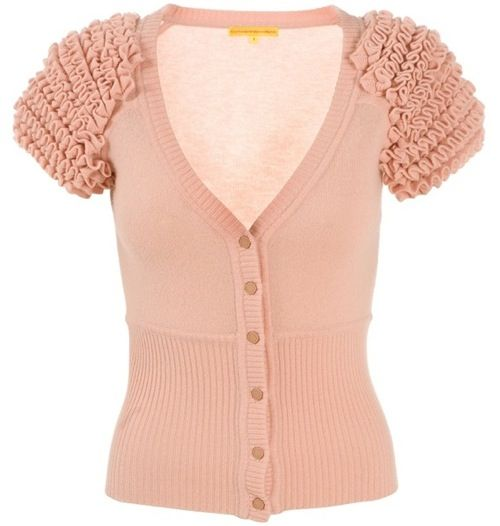 Catherine Malandrino peach cashmere knit short sleeve cardigan ...