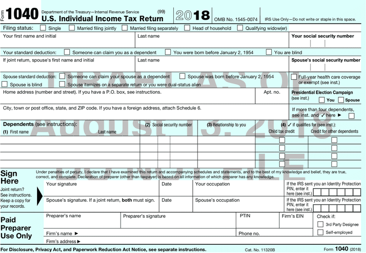 The New Form 1040 For Tax Year 2018 Form Example Irs Forms