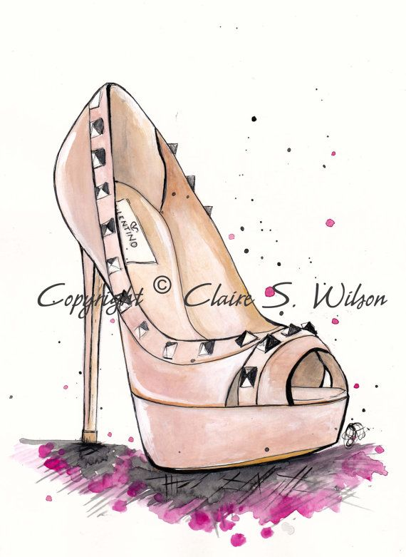 Pin By Karen Rose On For Walls Shoe Design Sketches Shoes Illustration Walk In My Shoes