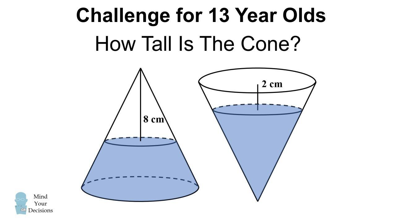 Challenge For 13 Year Olds How Tall Is The Bottle Math Riddles Math Challenge 13 Year Olds