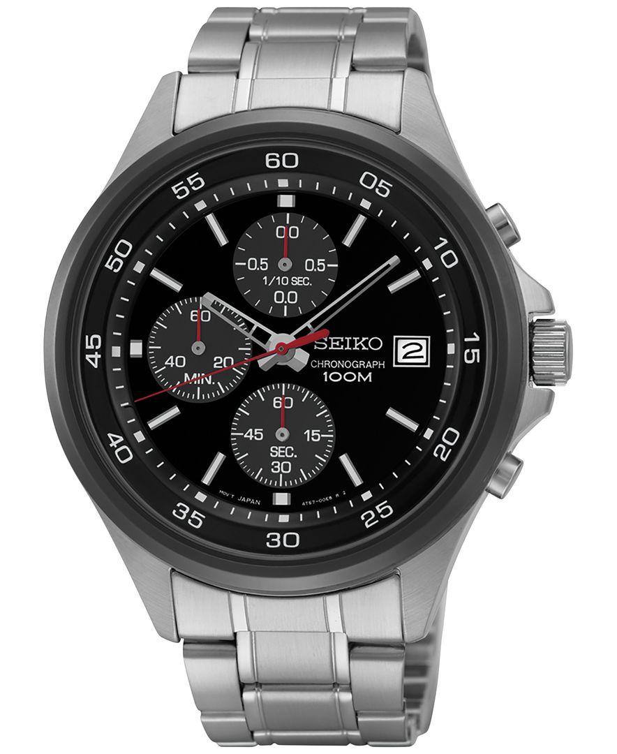 Seiko Men's Chronograph Stainless Steel Bracelet Watch 43mm Sks491