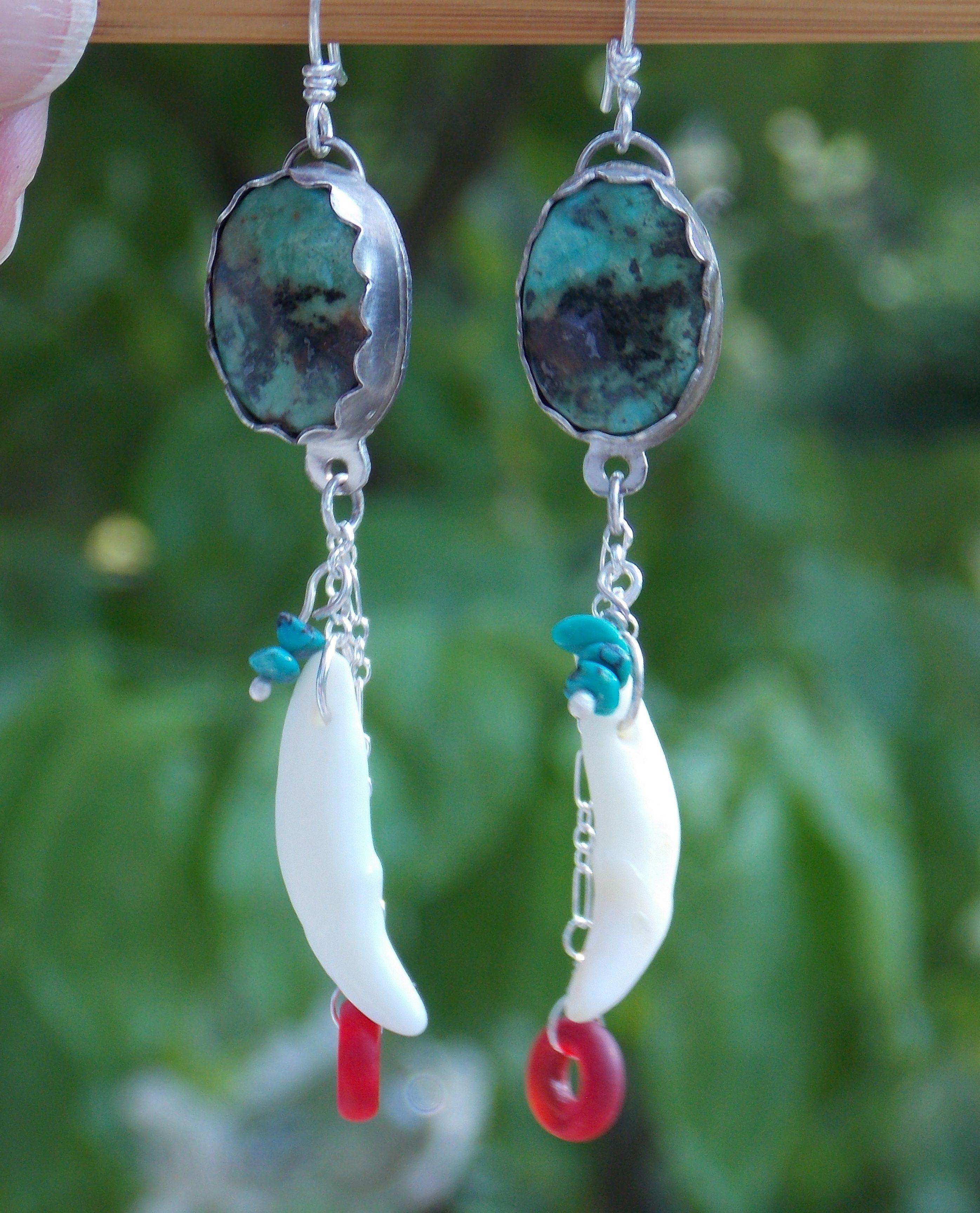 Green Turqoise Gemstone Earrings
