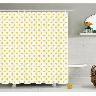 Ambesonne Polka Dots Home Decor Collection Yellow White Traditional Polka Dots Motif in Row on Sunny Colored Backdrop Girls Boho Decor 75 Inches Long Polyester Fabric Bathroom Shower Curtain