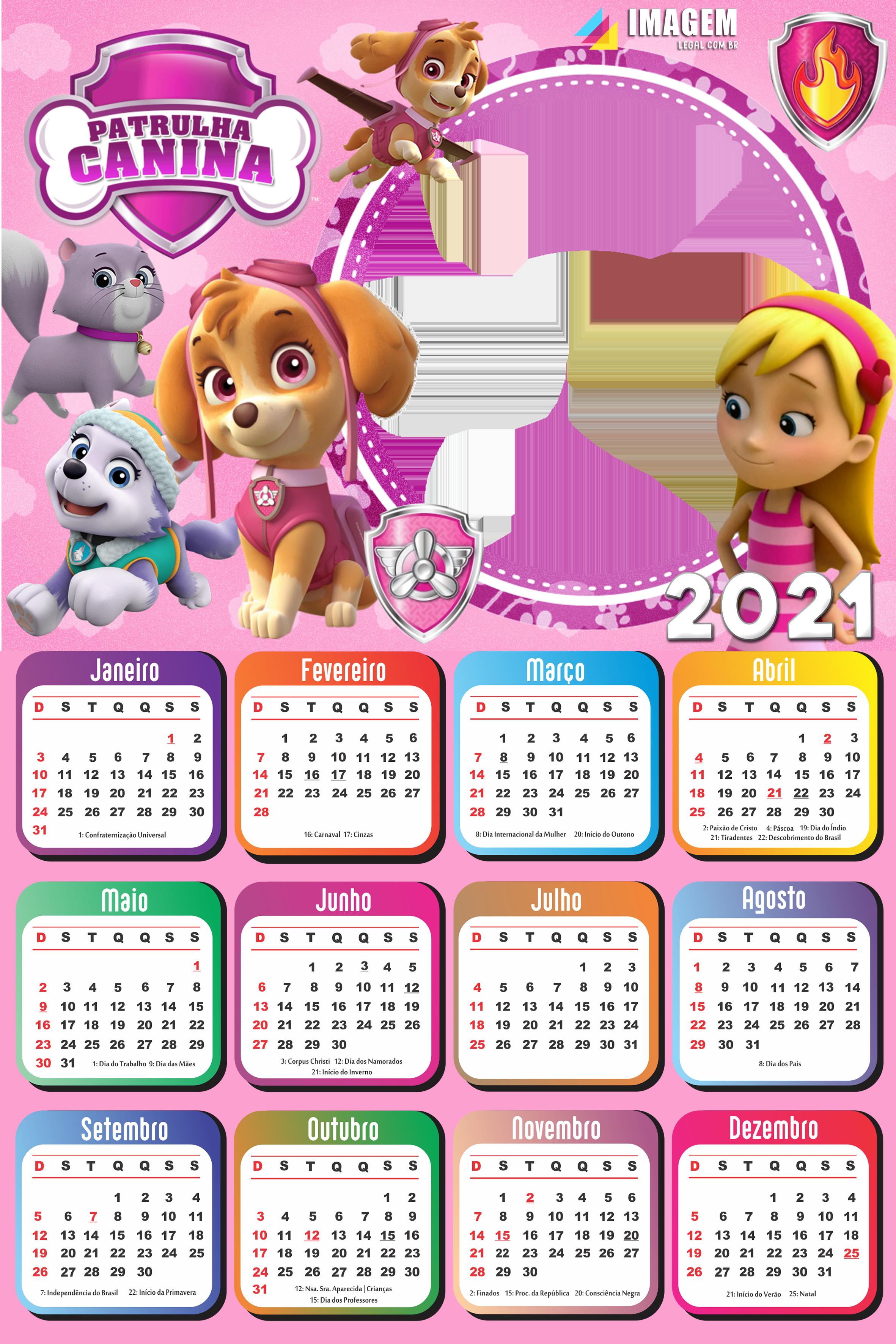 Calendário 2021 Patrulha Canina para Meninas | Imagem Legal em