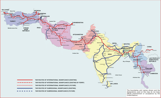 Map Of Asia Railways.Trans Asian Railway Southern Corridor By Unescap Map Rail