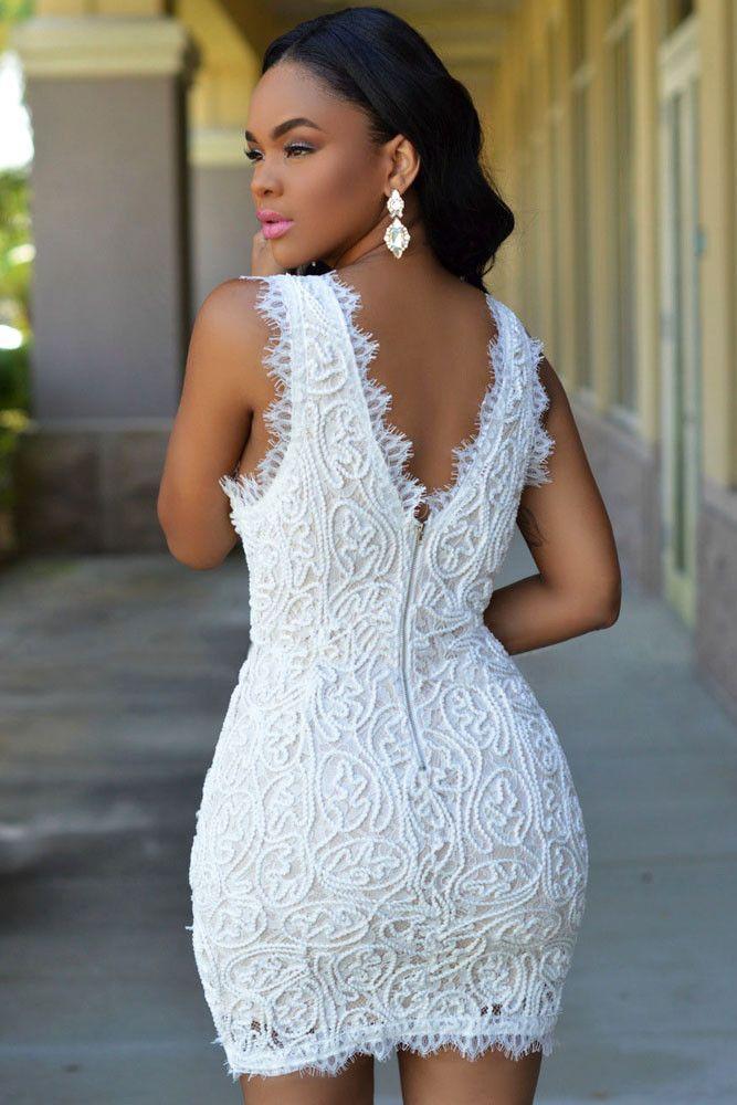 Elegant White Plunge V Neck Exquisite Lace Crochet Mini Dress Bodycon Dress Parties Crochet Mini Dress Mini Dress