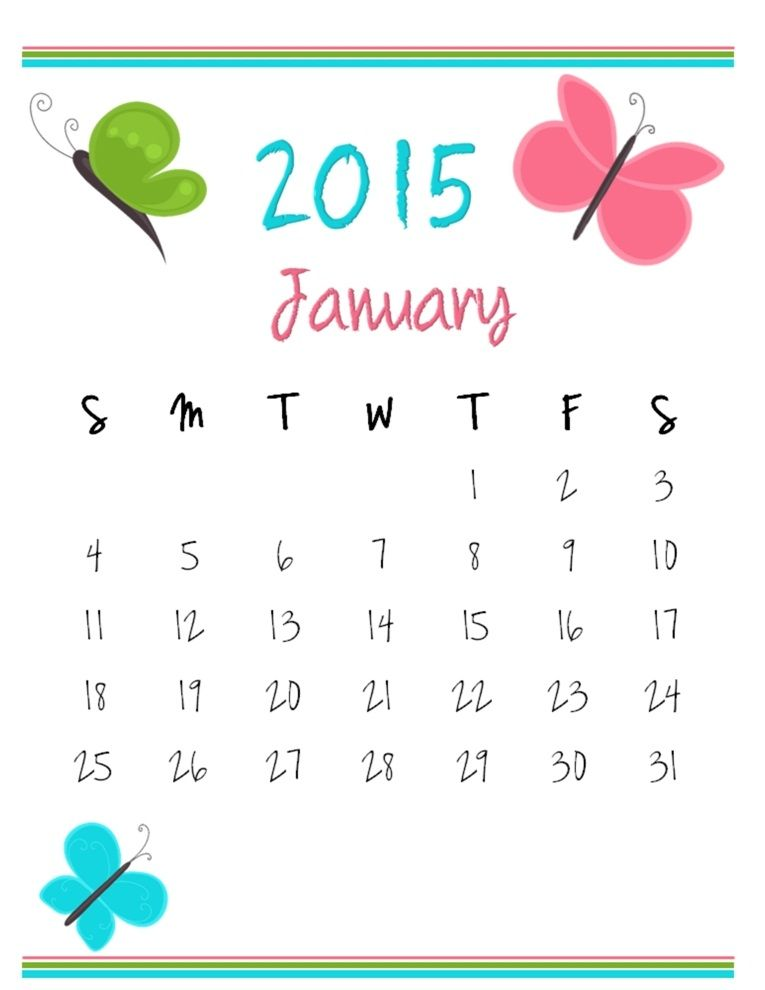 January 2015 Calendar Calendar Template Pinterest January 2015
