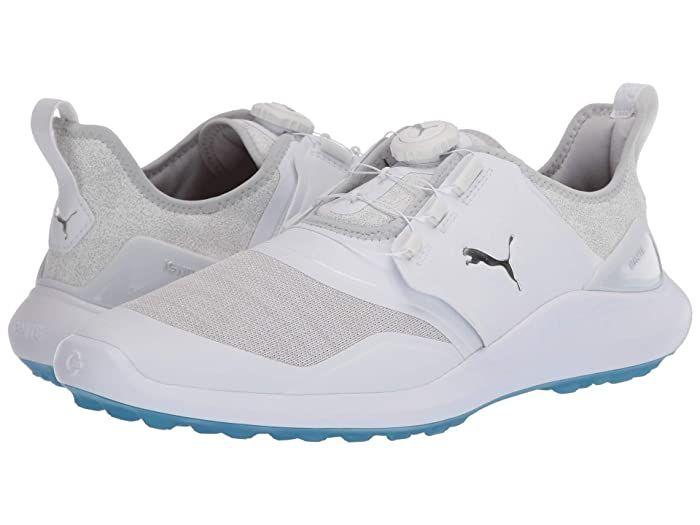 Puma Golf Ignite Nxt Disc Puma White Puma Silver High Rise Men S Golf Shoes Give Your Game Some Teeth With Puma Go In 2020 Golf Shoes Mens Golf Shoes Disc Golf Shoes