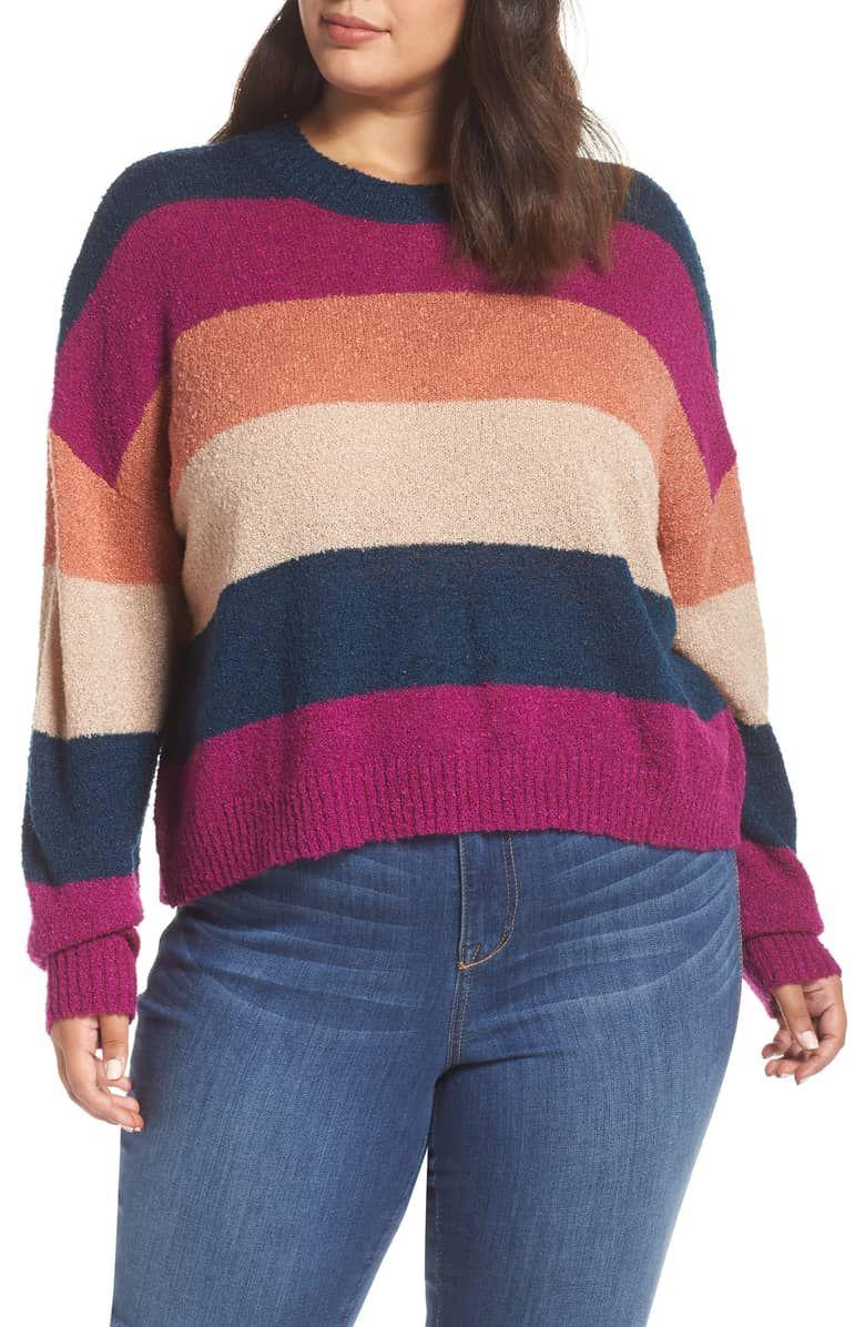 5c0c4db63 Stripe Bouclé Sweater, Main, color, BLUE AURORA MULTI STRIPE ...