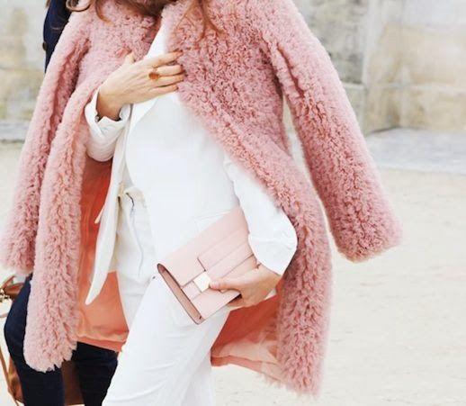 Pale pink + white.