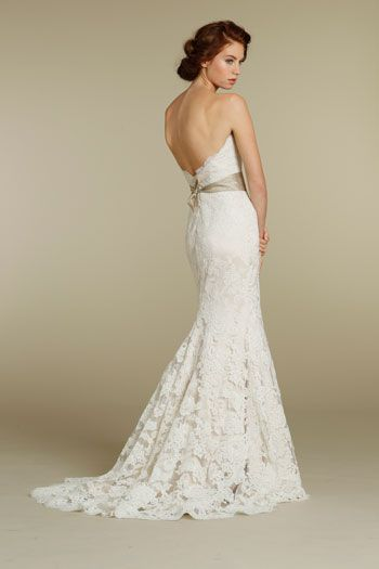 Bridal Gowns Wedding Dresses By Jim Hjelm Style Ivory Alencon Lace Over Champagne Charmeuse Modified A Line Gown Strapless Sweetheart Neckline