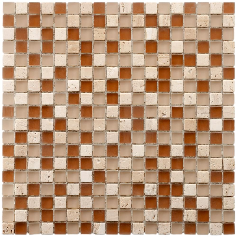 Merola Tile Tessera Mini Breno 11 3 4 In X 11 3 4 In X 8 Mm Glass And Stone Mosaic Tile Beige Brown And Amb Stone Mosaic Wall Stone Mosaic Stone Mosaic Tile