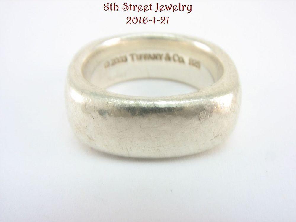 e0750bc99 Estate Tiffany & Co Sterling Silver 925 Square Cushion Band Ring Size 8 # TiffanyCo #Band