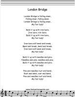 London Bridge Is Falling Down Lyrics Printout