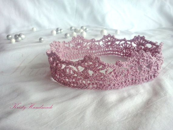 Pink and silver thread crochet baby crown tiara by KristyHandmade